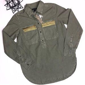 NWT J. Crew Embellished Pop Over Shirt Size 0